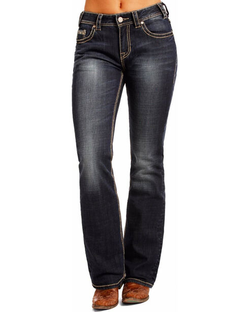 Rock & Roll Cowgirl Women's Blue Mid-Rise Multi Color Thread Jeans - Boot Cut , Blue, hi-res