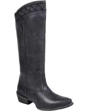"Roper Black Embroidered 15"" Cowgirl Boots - Snip Toe , Black, hi-res"