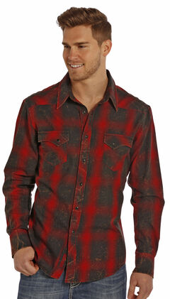 Rock and Roll Cowboy Men's Red and Black Plaid Flannel Western Shirt , , hi-res