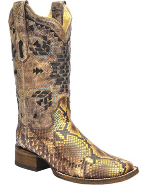 Corral Python Inlay Cowgirl Boots - Square Toe, Tan, hi-res