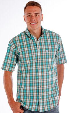 Panhandle Men's Evanston Ombre Plaid Shirt , Blue, hi-res