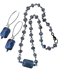2 Queen B's Women's Smokey Eyes Silver Smokey Crystal Jewelry Set, Blue, hi-res