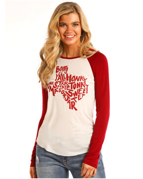Rock & Roll Cowgirl Women's Texas Words Baseball Tee, Red, hi-res