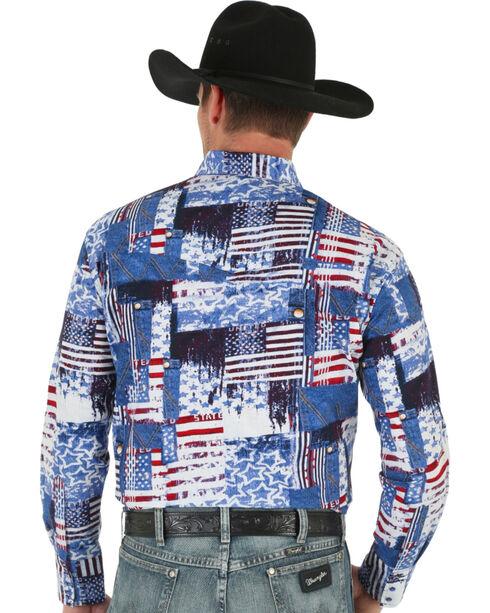 Wrangler Men's American Flag Checotah Western Shirt, Am Spirit, hi-res