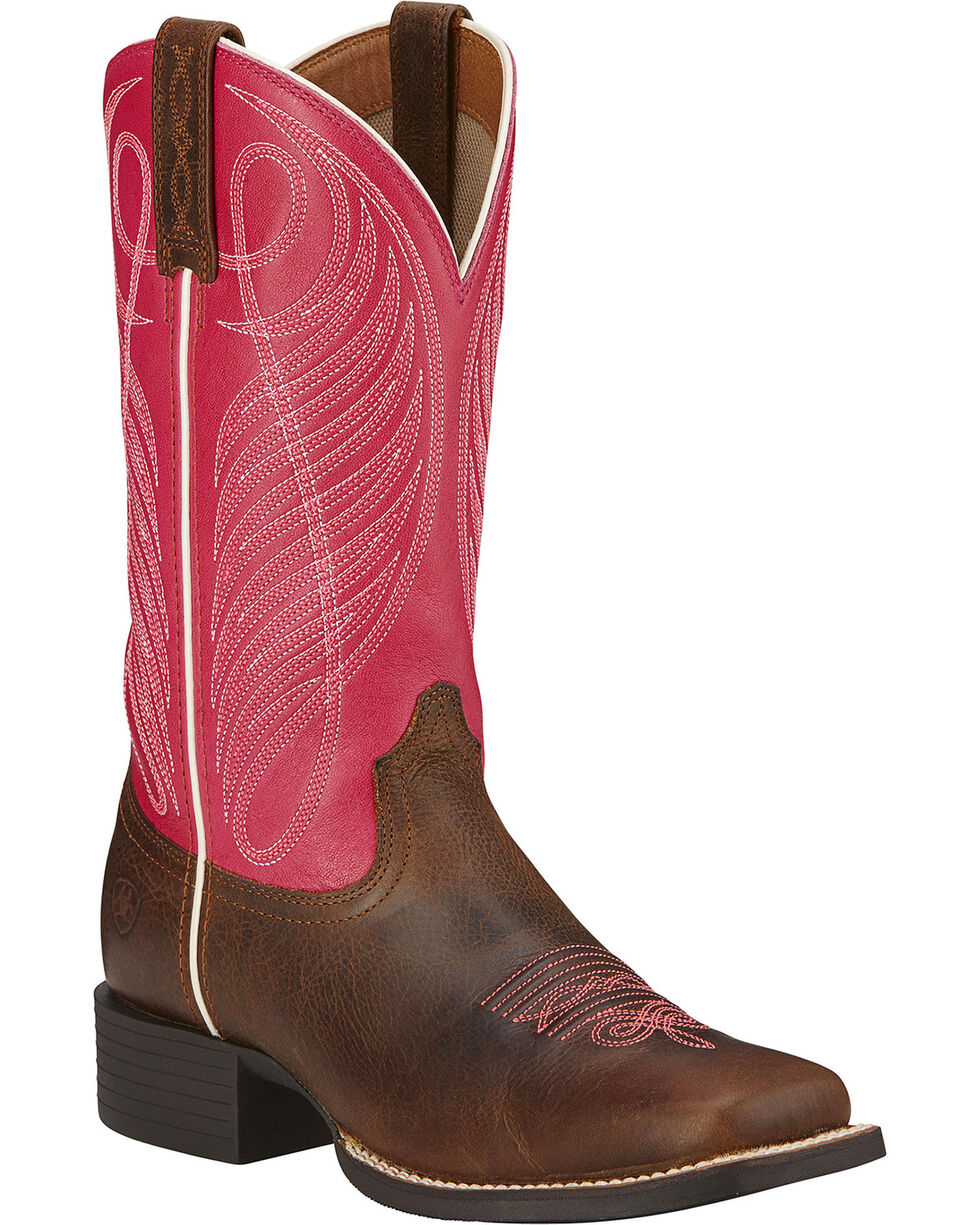 Ariat Round Up Cowgirl Boots - Wide Square Toe, Wicker, hi-res