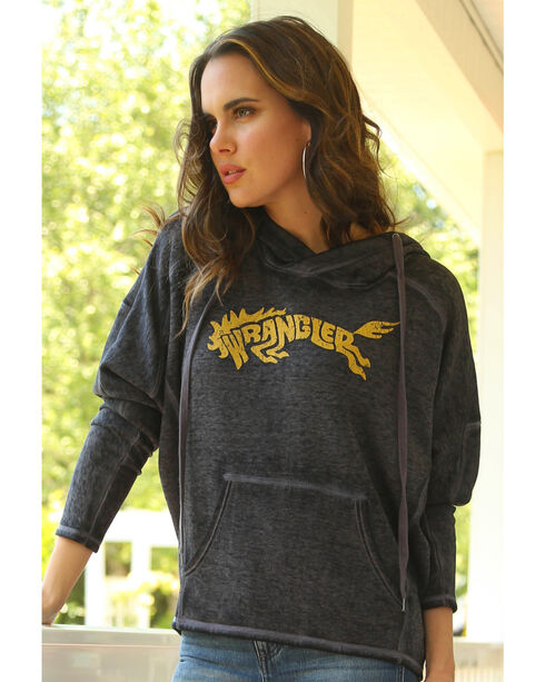 Wrangler Women's Logo Hooded Fleece Top, Navy, hi-res