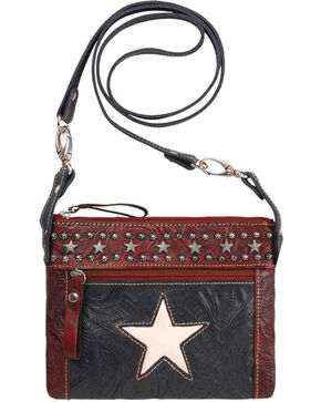 American West Women's Navy Star Crossbody Bag , Navy, hi-res