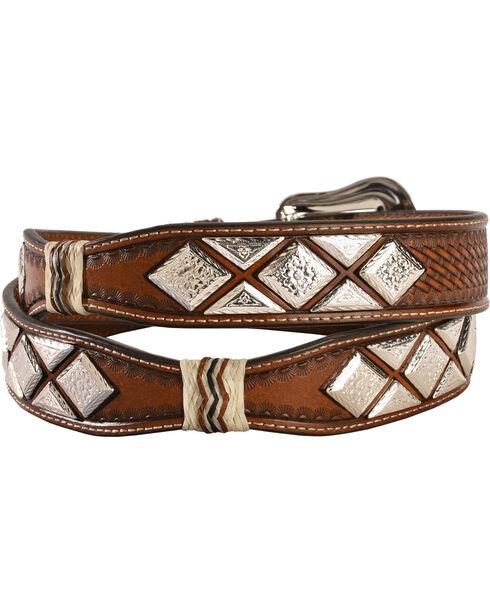 Nocona Men's Scalloped Diamond Concho Belt, Tan, hi-res