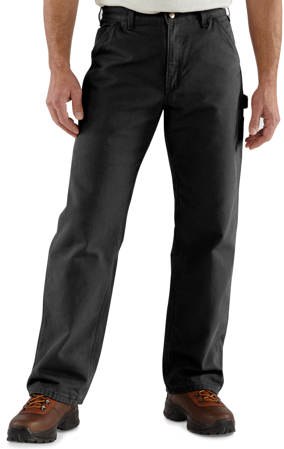 Carhartt Flannel-Lined Washed Duck Dungaree Work Pants, Black, hi-res