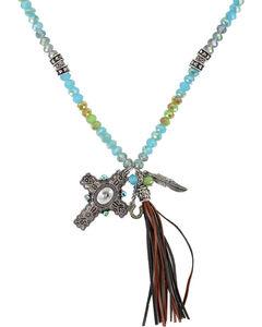 Shyanne Women's Cross and Fringe Tassel Necklace, Silver, hi-res