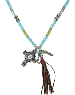 Shyanne Women's Cross and Fringe Tassel Necklace, Silver, hi-res
