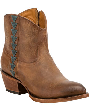 Lucchese Women's Handmade Chloe Tan Goat Leather Geometric Overlay Western Booties - Round Toe, Tan, hi-res