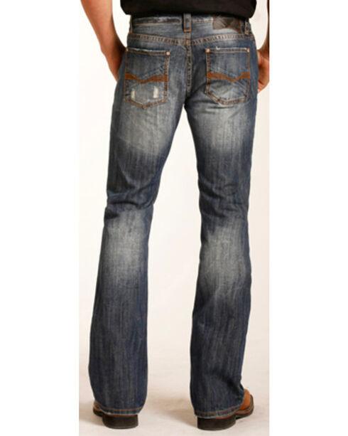"""Rock & Roll Cowboy Men's Large """"V"""" Pistol Boot Cut Jeans, Indigo, hi-res"""