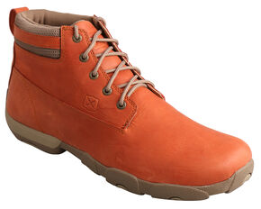 Twisted X Men's Burnt Orange Lace-Up Driving Mocs, Burnt Orange, hi-res