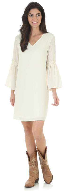 Wrangler Women's Cream V Neck Dress with Flutter Sleeves, Cream, hi-res