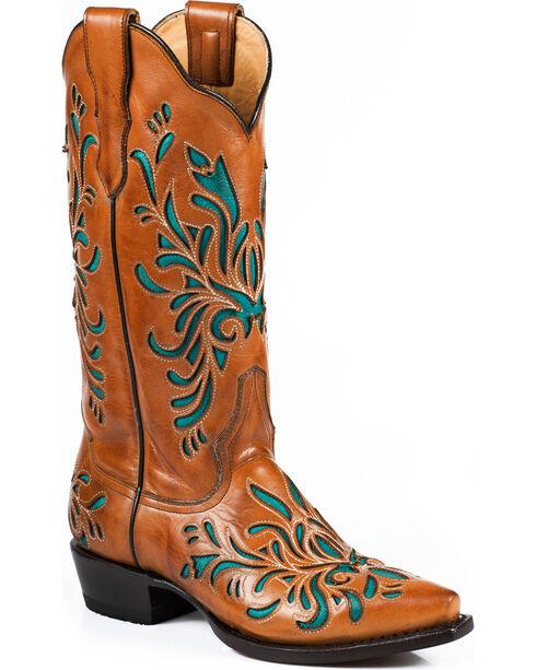 Stetson Women's Burnished Sorrel Turquoise Inlay Western Boots - Snip Toe, Orange, hi-res