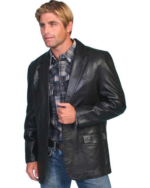 Scully Men's Lamb Leather Blazer - Big and Tall , Black, hi-res