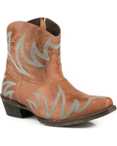Roper Women's Phoenix Tan Embroidered Short Western Boots - Snip Toe, Tan, hi-res