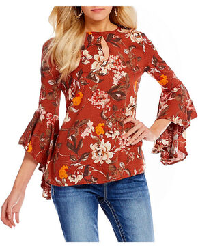 Miss Me Women's Floral Print Bell Sleeve Peasant Top, Burgundy, hi-res