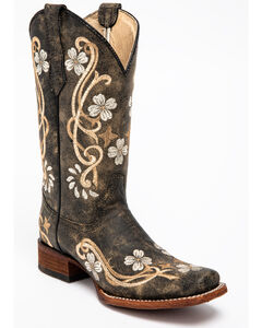 Circle G Honey Cowhide Cowgirl Boots - Square Toe , , hi-res