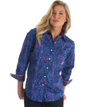 Wrangler Women's Blue George Strait Paisley Print Shirt , Multi, hi-res