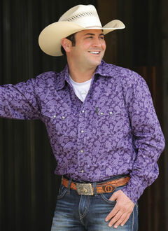Cinch Men's Purple Modern Fit Long Sleeve Shirt , , hi-res