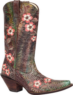 Durango Crush Floral Bouquet Embroidered Cowgirl Boots - Snip Toe, , hi-res