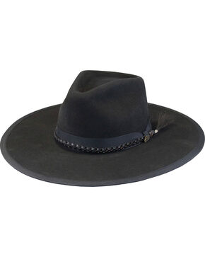 Justin Men's Black 7X Fur Felt Magnificent Hat, Black, hi-res