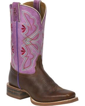 Tony Lama Cognac Crockett 3R Stockman Cowgirl Boots - Square Toe , Cognac, hi-res