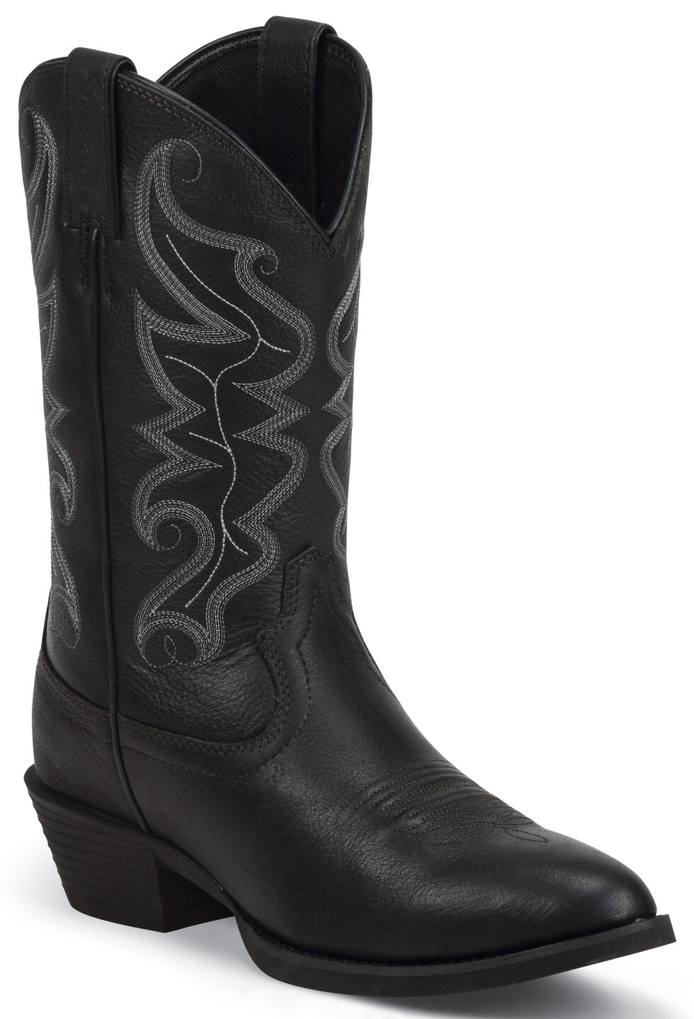 Justin Men's All Star Black Western Boots - Round Toe , Black, hi-res