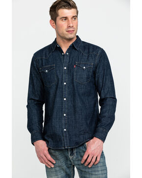 Levi's Men's Dark Rinse Denim Long Sleeve Western Shirt, Dark Blue, hi-res