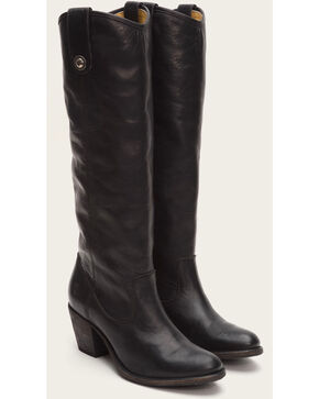 Frye Women's Black Jackie Button Tall Boots - Round Toe , Black, hi-res