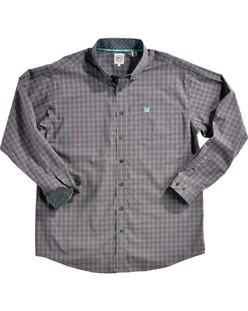 Cinch Men's Grey Plaid Print Long Sleeve Western Shirt - Big, Grey, hi-res