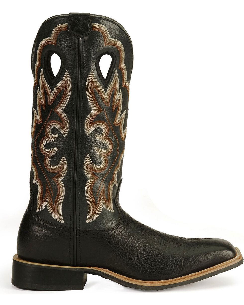 Twisted X Men's Ruff Stock Shoulder Cowboy Boots - Square Toe , Black, hi-res