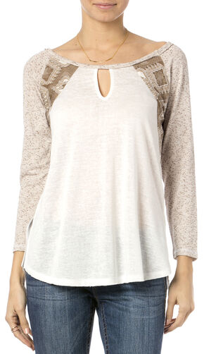 Miss Me Crochet Back Embroidered Raglan Top, Taupe, hi-res