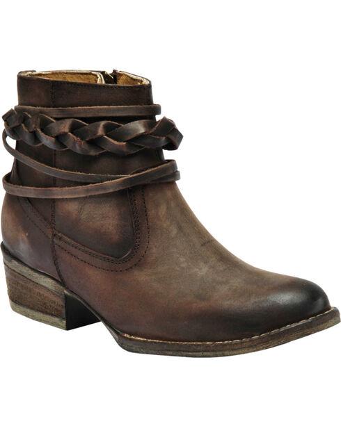 Circle G Women's Brown Braided Strap Short Boots - Medium Toe , Brown, hi-res