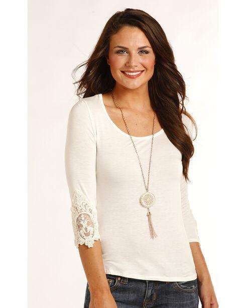 Panhandle Women's Lace Trim T-Shirt , White, hi-res