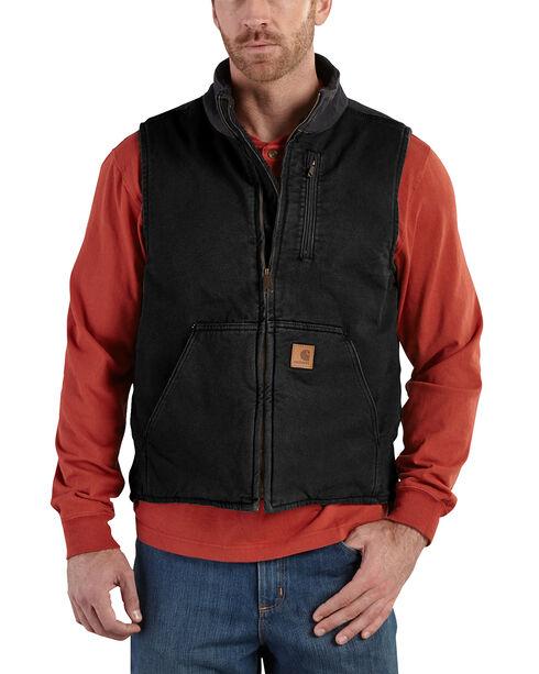 Carhartt Sherpa Lined Sandstone Duck Work Vest - Big & Tall, Black, hi-res