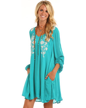 Rock & Roll Cowgirl Women's Teal Princess Seam Embroidered Dress , Teal, hi-res