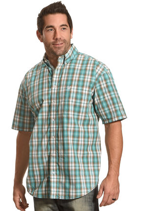 Rough Stock by Panhandle Men's Evanston Ombre Plaid Short Sleeve Shirt, Blue, hi-res