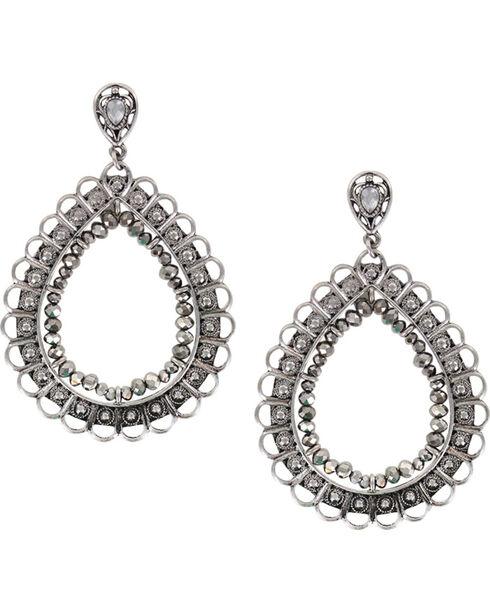 Shyanne Women's Large Filigree Teardrop Earrings, Silver, hi-res