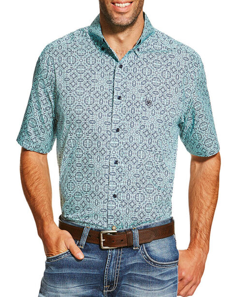 Ariat Men's Irthington Geometric Short Sleeve Shirt, Blue, hi-res