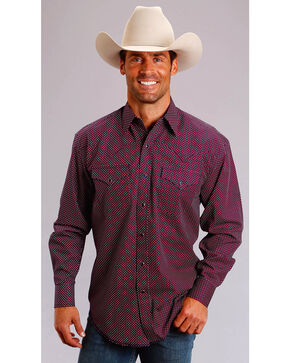 Stetson Men's Four Dot Foulard Long Sleeve Snap Shirt, Wine, hi-res