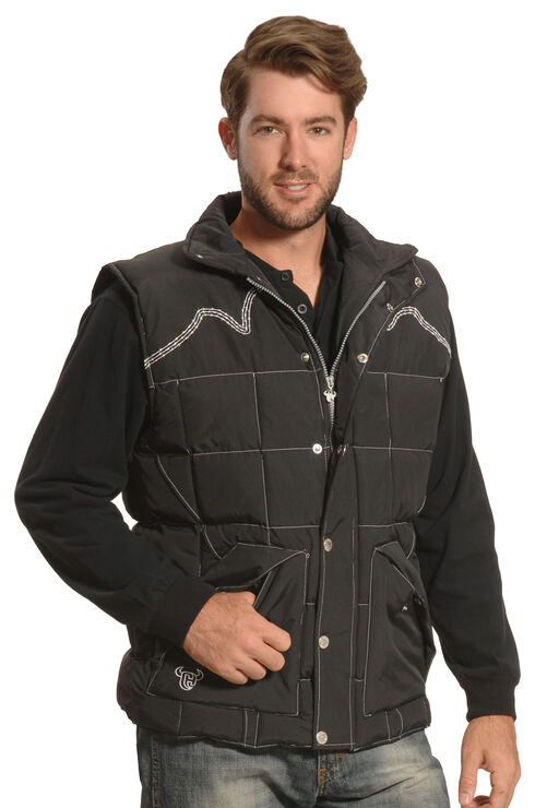Cowboy Hardware Men's Black Triple Barbwire Nylon Vest , Black, hi-res