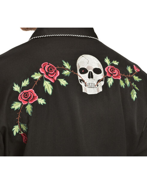 Scully Skull & Roses Embroidered Retro Western Shirt - Big, Black, hi-res