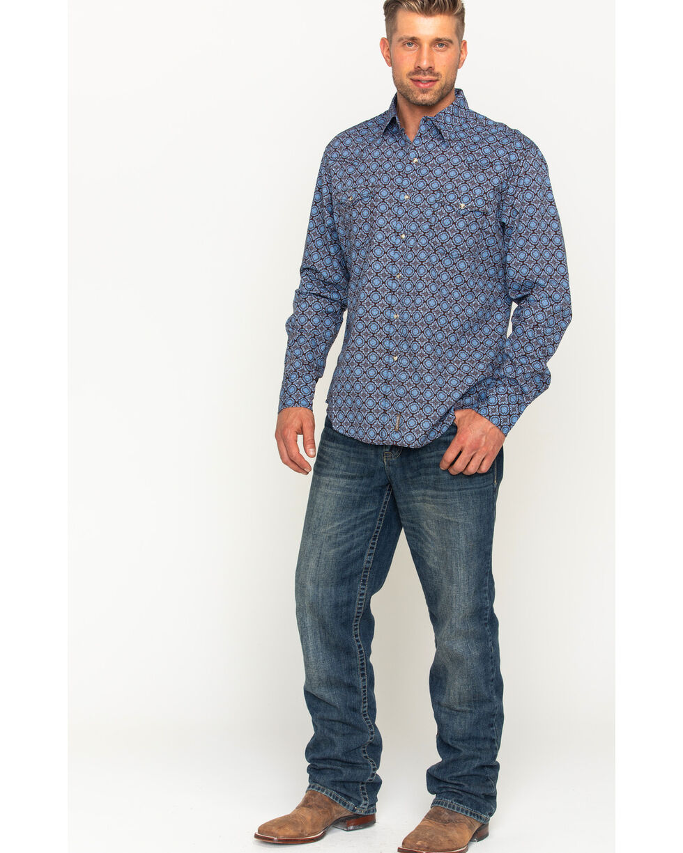 Wrangler Men's Blue Retro Premium Western Shirt , Blue, hi-res