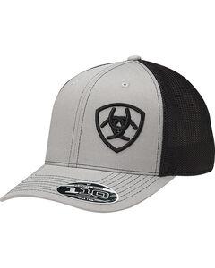 Ariat Men's Grey Contrasting Shield Baseball Cap , Grey, hi-res