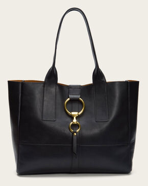 Frye Women's Black Ilana Harness Leather Shopper Bag , Black, hi-res