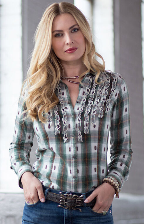 Ryan Michael Women's Ruffle Front Ombre Plaid Shirt, Evergreen, hi-res