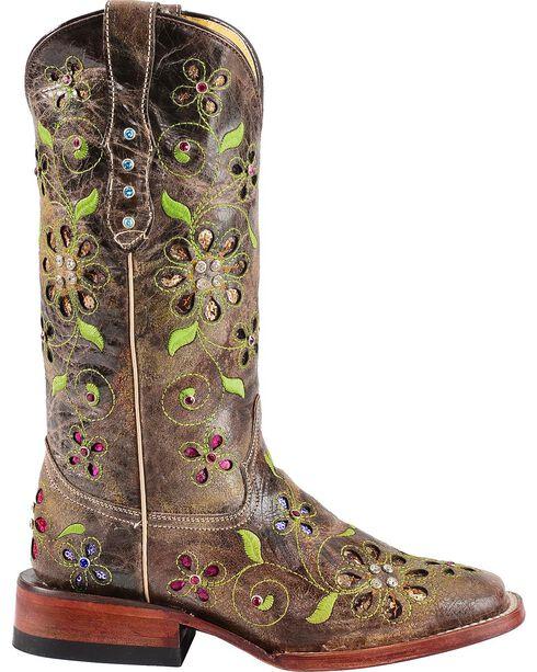 Ferrini Blossom Sequin Inlay Cowgirl Boots - Square Toe, , hi-res